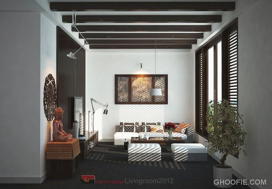 Modern Asian Inspired Living Room Design