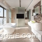 Modern Bright bathroom with Mosaic Tile Wall