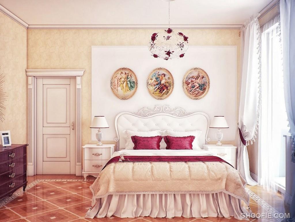 Modern Classic Cream Red Bedroom Scheme