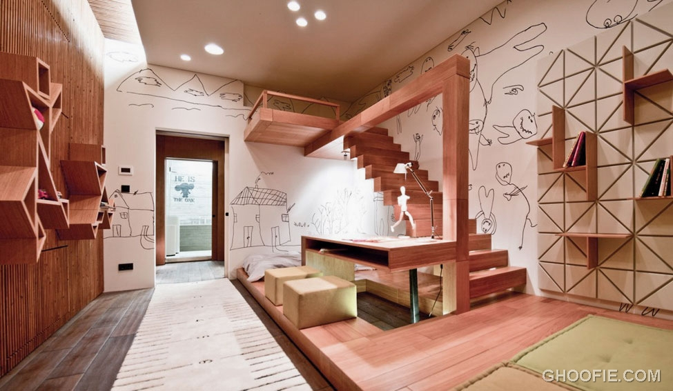 Modern Kids Room with Study Desk and Loft
