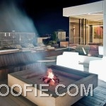 Modern Pent House with Decking Fire Pit Ideas
