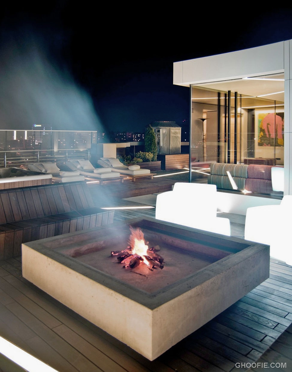 modern pent house with decking pit ideas interior