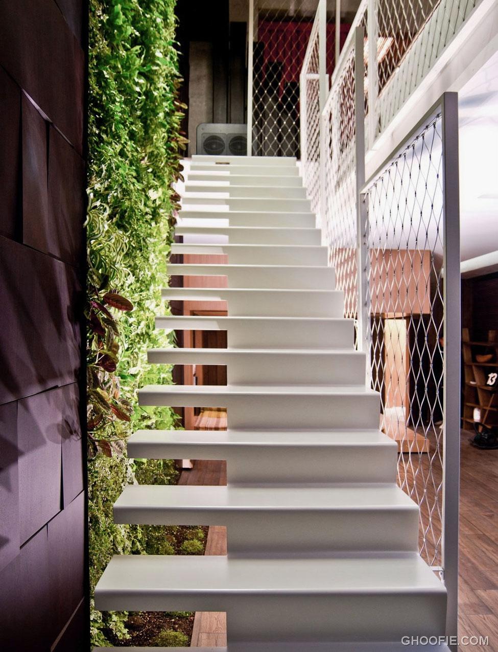 Modern white floating open staircase interior design ideas for Open staircase