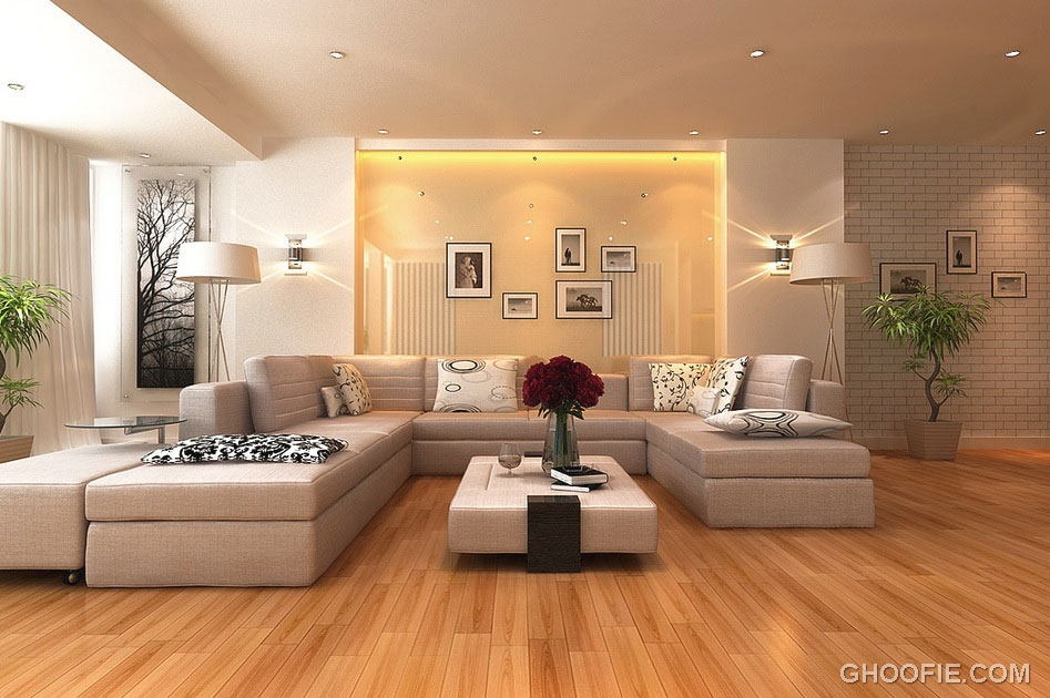 Neutral Living Room with Reccesed Ceiling Light