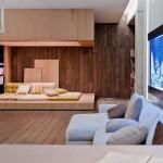 Open Plan Neutral Living Room with Exotic Aquarium