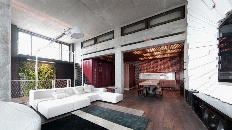 Open Plan White Wood Living Loft Apartment