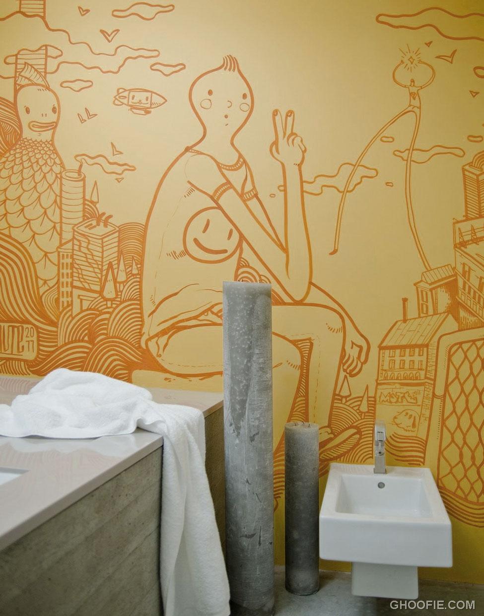Tintin Illustrative Wall Art Mural Bathroom