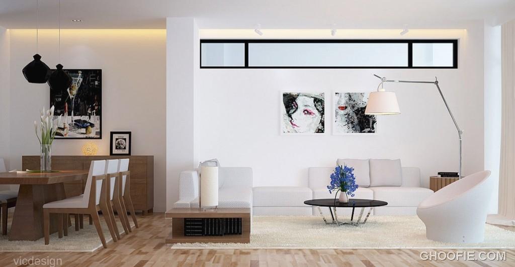 White Oak Living Area with Urban Wall Art Decor