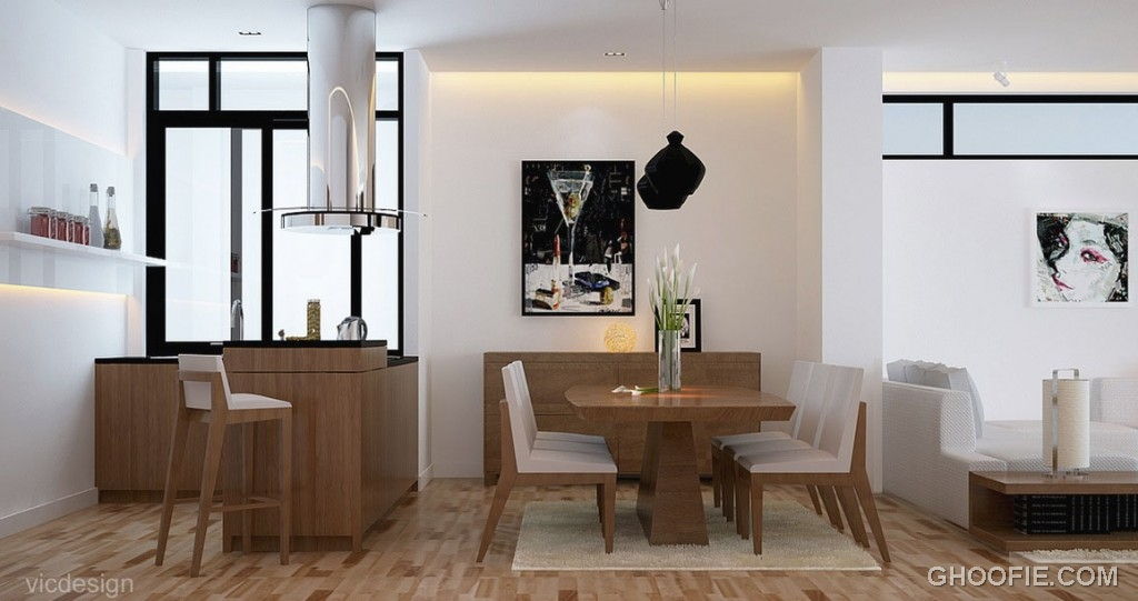 White Wood Kitchen Dinning Room Design