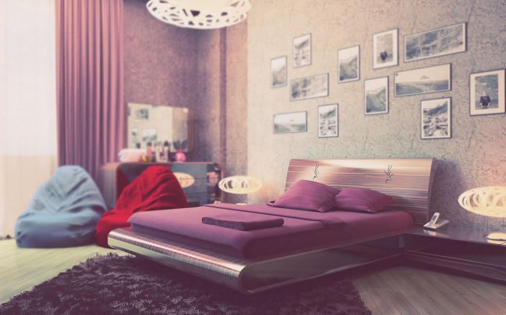 Beautiful Purple Cream Bedroom For Girl Interior Design