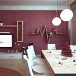 Bright Dining Room with Purple Wall Color