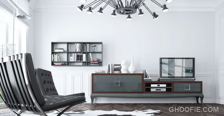 Classic Living Room with Vintage LCD TV Furniture