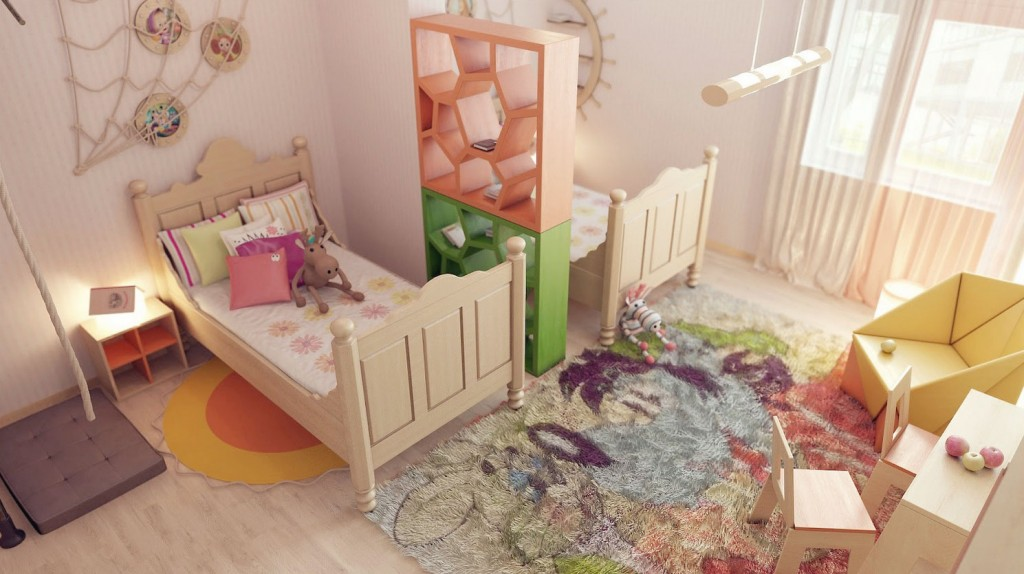 Colorful Childrens Room with Unique Divider Idea
