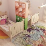 Colorful Childrens Room with Unique Divider Idea