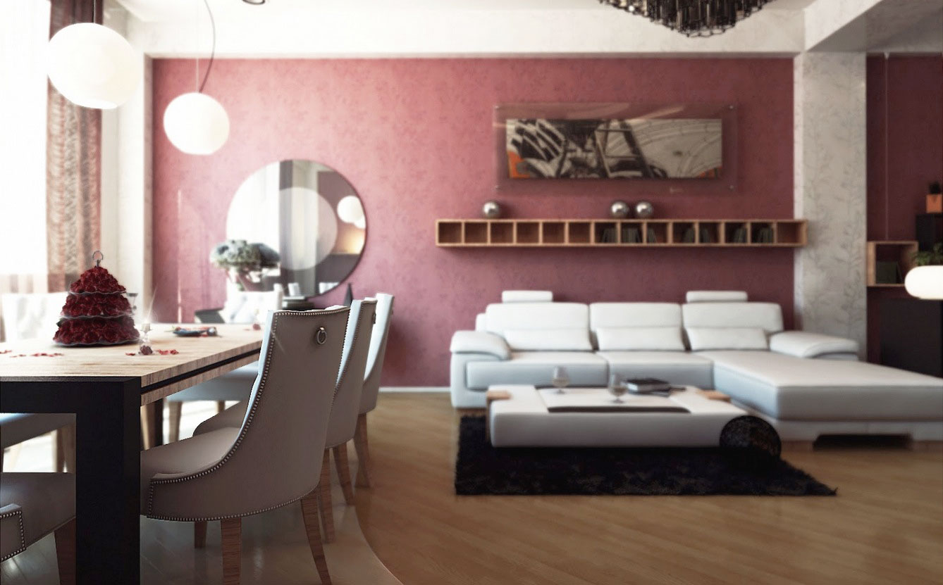 Contemporary Combined Living Room Diner with White Furniture