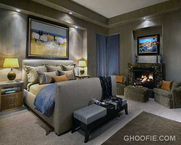 Modern Contemporary Bedroom with Fireplace Ideas