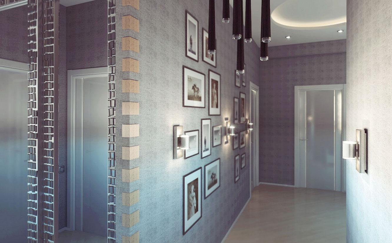 Modern hallway apartment design with ceiling lights for Apartment hallway design