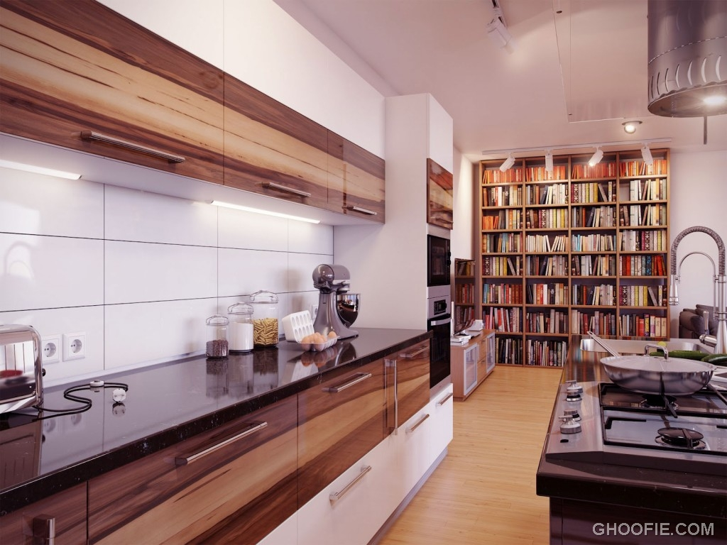 Modern White Backsplash Wooden Units Kitchen Interior