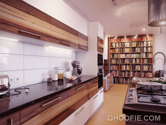 Modern White Backsplash Wooden Units Kitchen