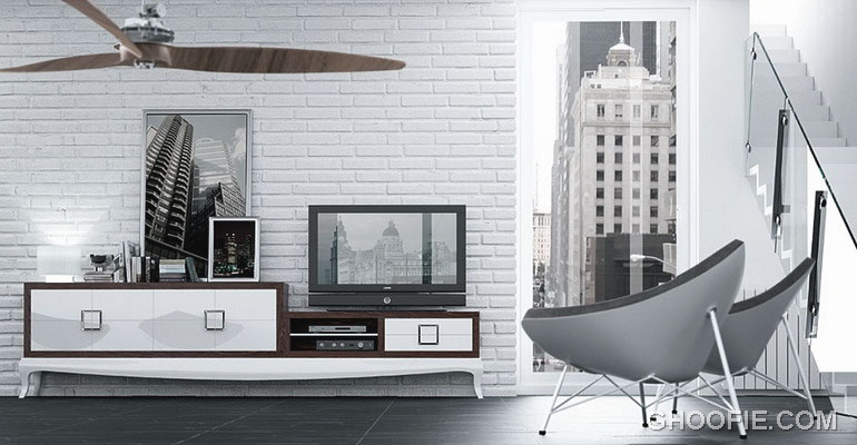 White Brick Wall Living Room with Modern Furniture