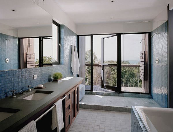 Bathroom Design with Blue Tile and Outdoor Deck