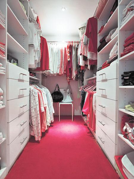 Beautiful Walk In Closet With Pink Floor Interior Design