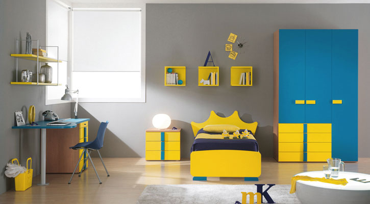 Blue and Yellow Modern Minimalist Bedroom for Kids