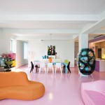 Chic Living Interior with Pink Floor Design