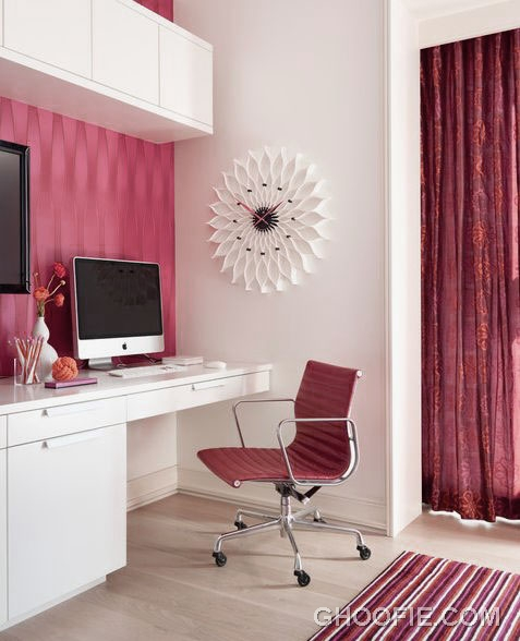 Chic Red Office Design with Herman Miller Chair