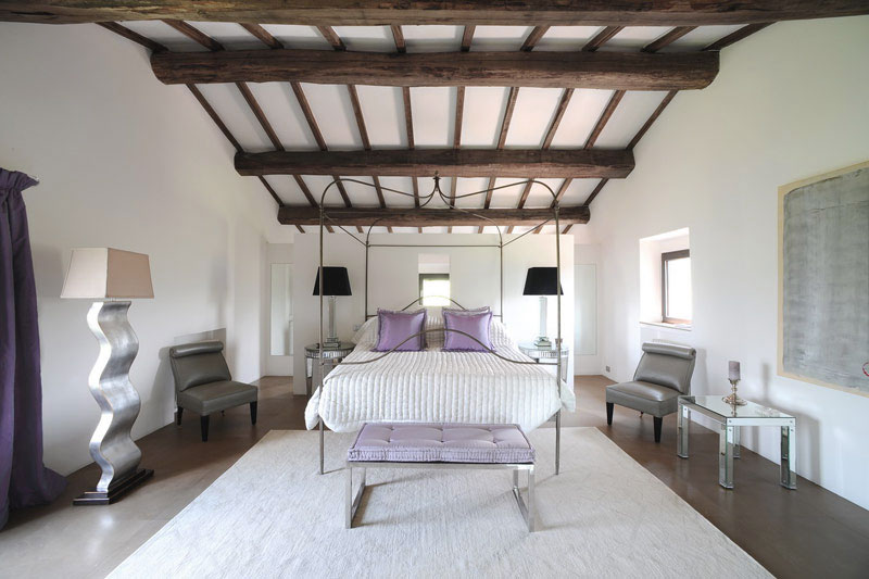 Classic Minimalist White Lilac Bedroom Wooden Ceiling Beams