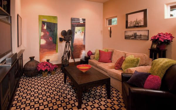 Classy Movie Room Design with Colorful Pillow