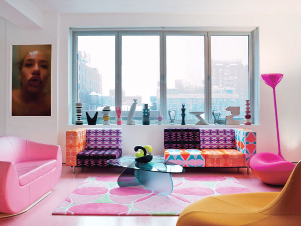 Colorful Living Room with Pink Dominant Color