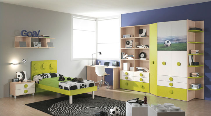Cool Green Foot Ball Theme Bedroom for Kids
