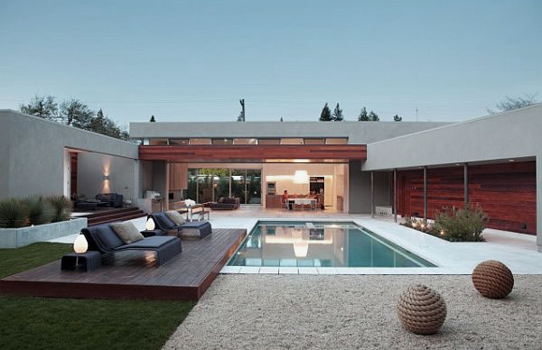 Courtyard Design with Modern Pool and Raised Deck