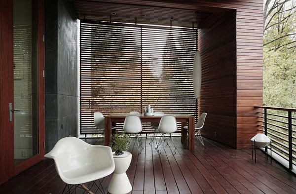 Elegant Outdoor Deck Terrace Design with Dining Table