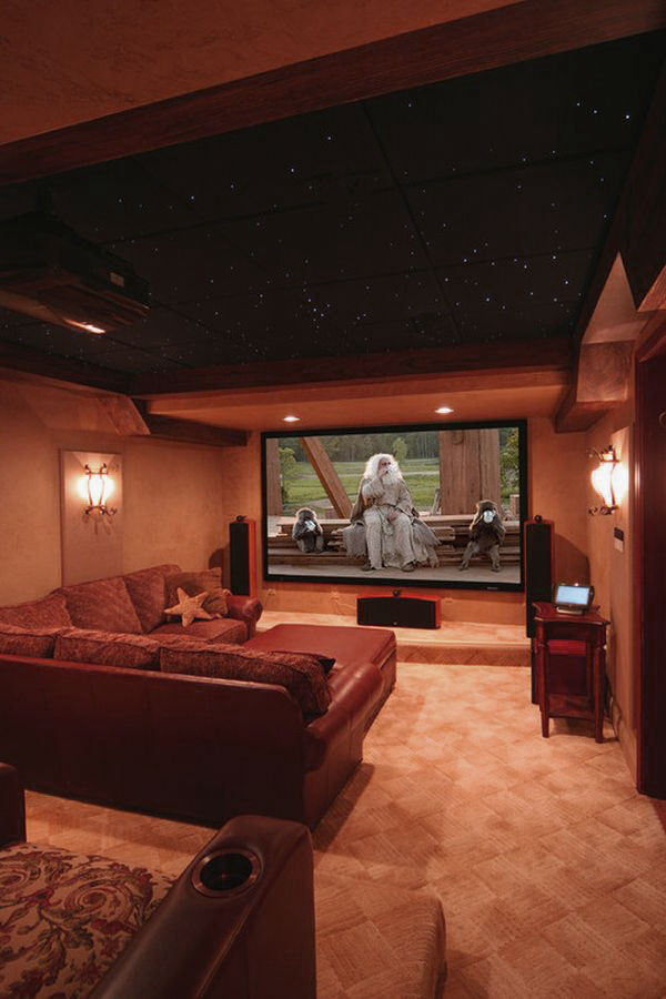 Family Media Room Design With Awesome Ceiling Interior