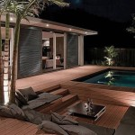 Fascinating Outdor Patio Design with Wooden Deck and Pool