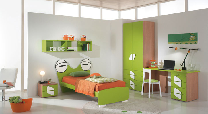 Green Orange Frog Shape Bed for Boys