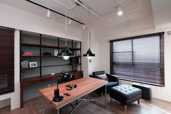 Home Office Design with Simple Table and Storage