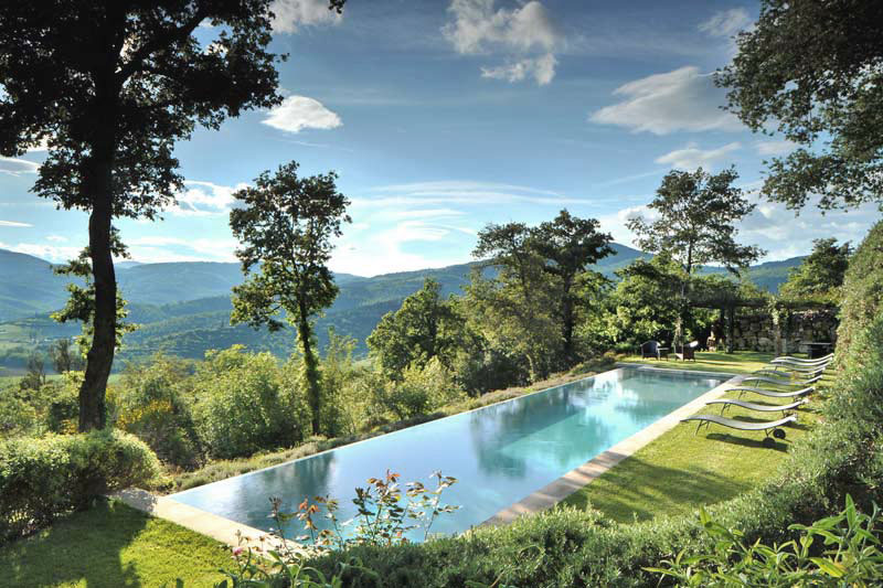 Infinity Swimming Pool with Olive Groves View