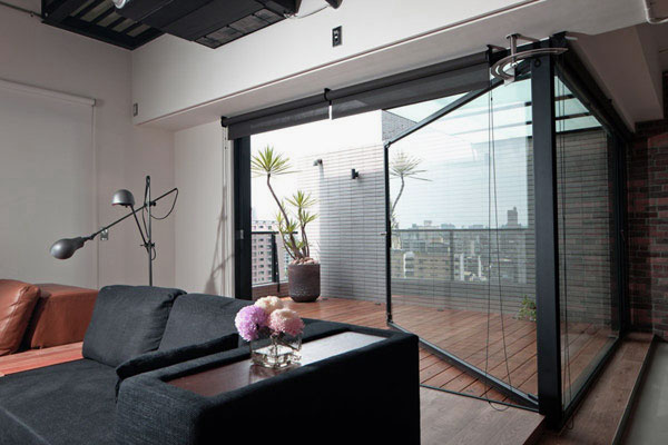 living room design with large sliding door interior design ideas