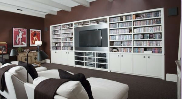Minimalist Movie Room Design with White Movies Collection Storage