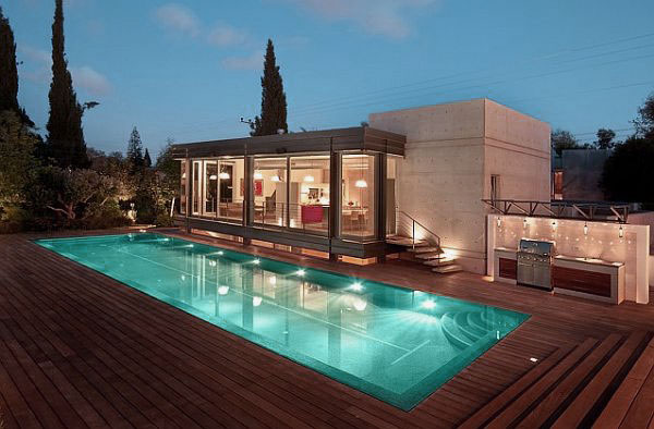 Modern House Design with Wooden Deck and Pool