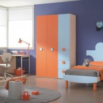 Modern Orange Blue Furniture Color Kids Bedroom