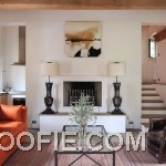 Modern Orange White Living Room with Fire Place