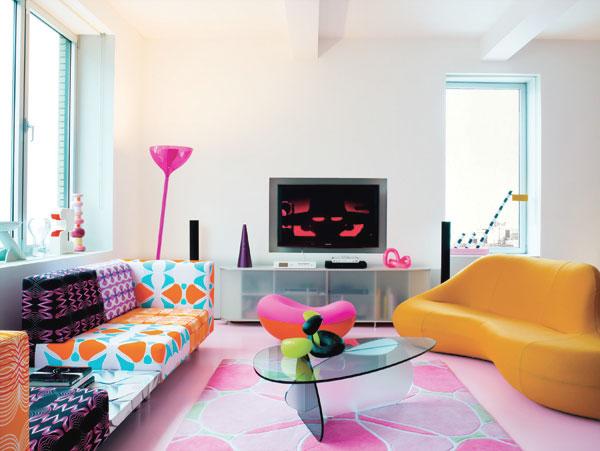 Modern Pop Style Interior Living Room