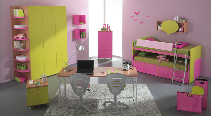 Pink Green Girls Bedroom with Bunk Bed and Study Desk
