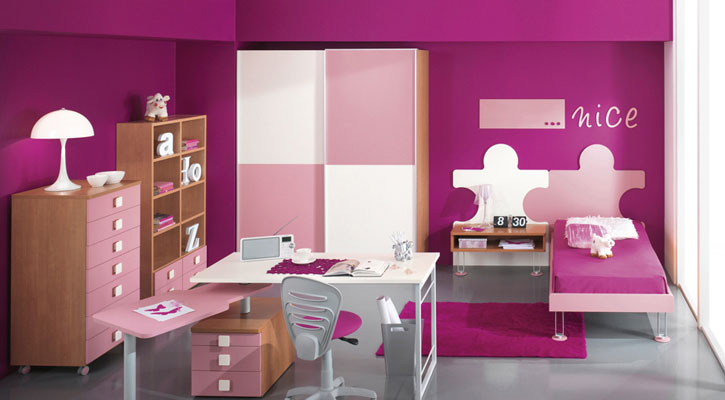 Pink Room for Girls with Puzzle Bed Shape