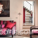 Pink White Living Room With Chrome Floor Lamp