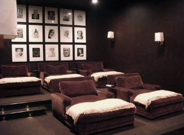 Warm Media Room Design with Chocolate Brown Velvet